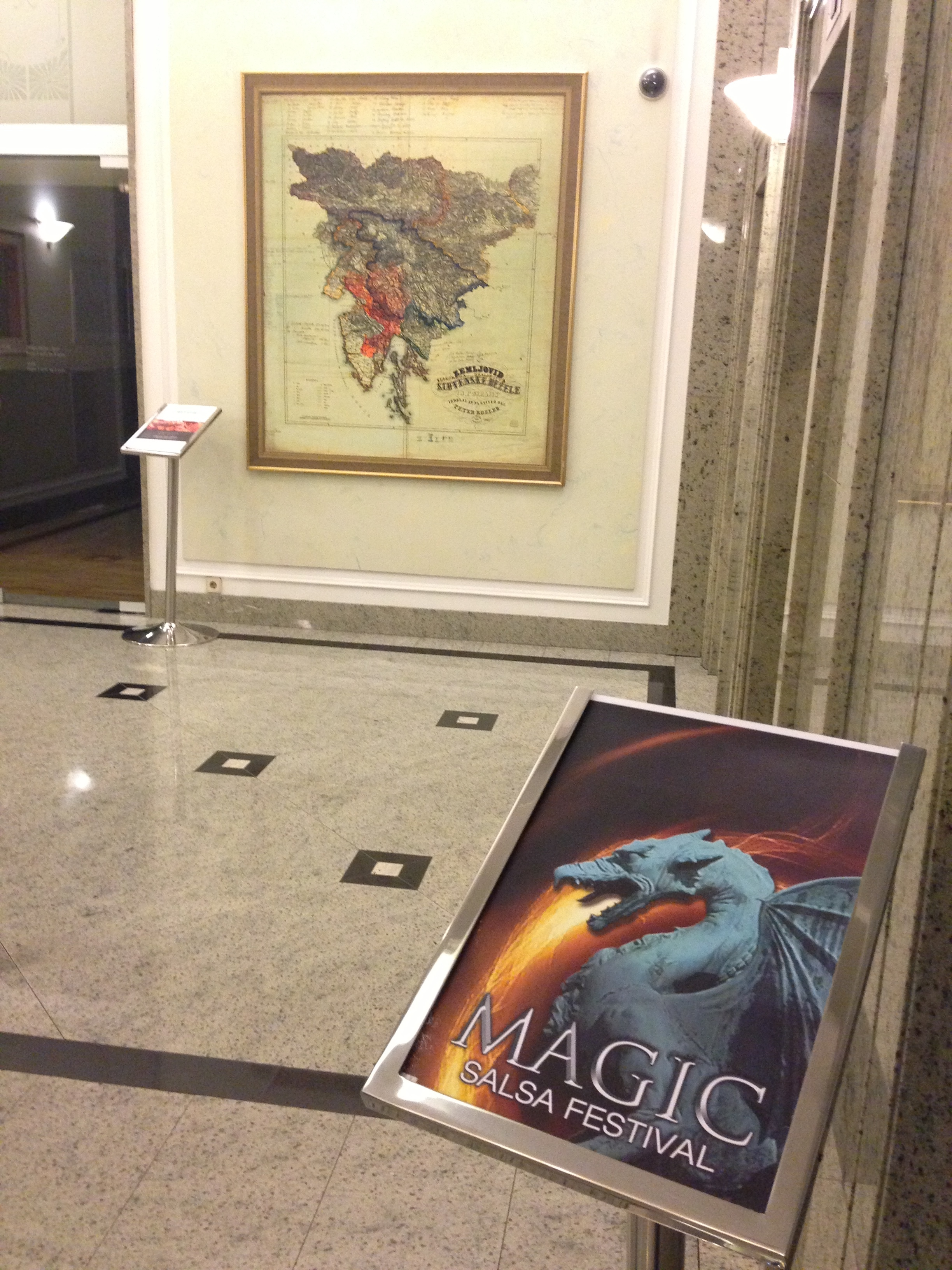 maps, monsters, and magic  juxtaposed in Ljubljana