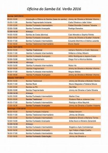 Schedule of Workshops at the Oficina do Samba (samba workshop), Academia de Danca Jimmy de Oliveira, Rio de Janeiro