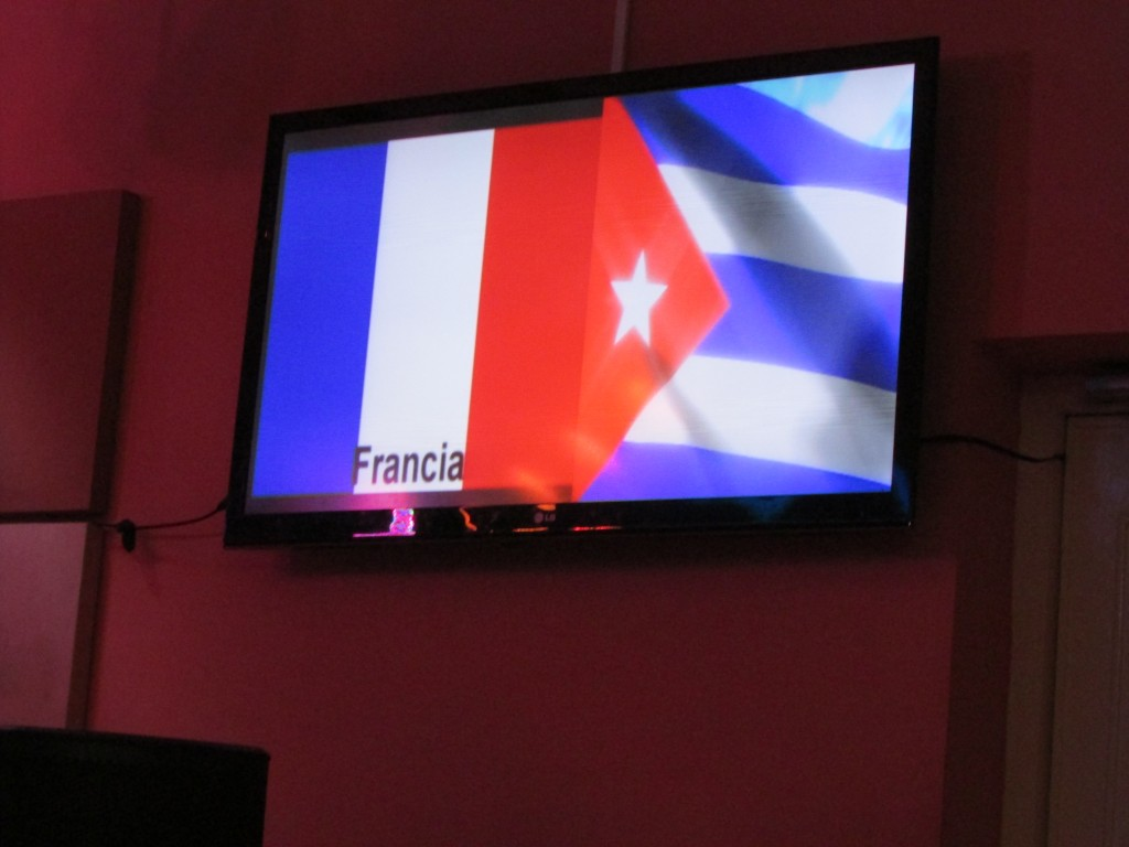 The French flag displayed as a personal greeting, Havana, Cuba