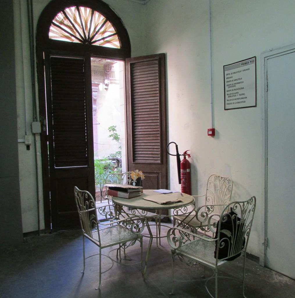 Photo 1- My table work at Centro de Información y Documentación de la Música Cubana Odilio Urfé, Museo de la Música[1]