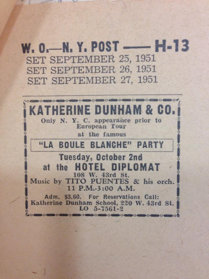 Publicity for Katherine Dunham's famous monthly social in New York, 'La Boule Blanche'-- featuring Tito Puente