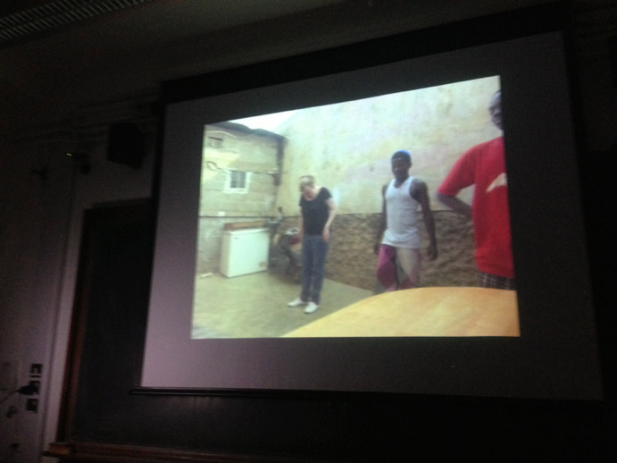 Stefanie Alisch showing us images of herself learning kuduro steps in quintals