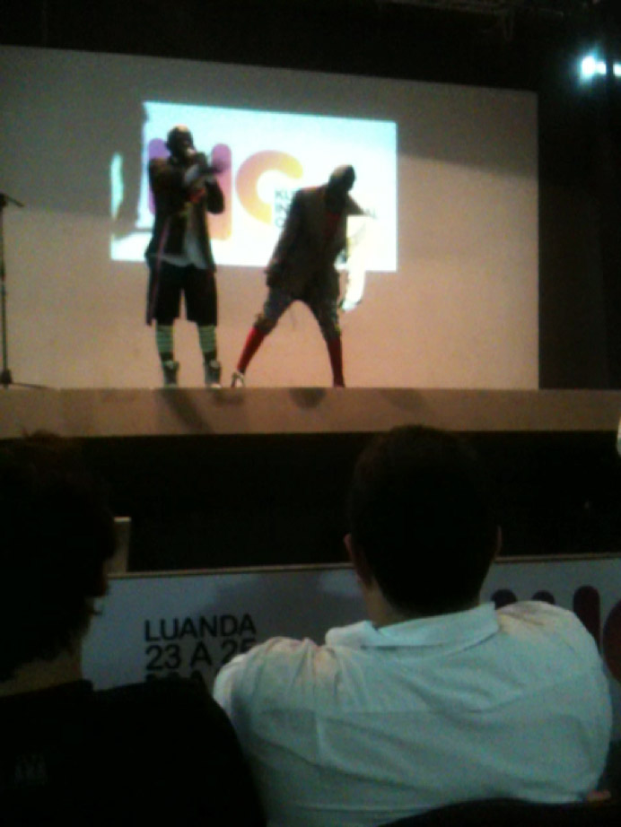 residente Gasolina and Principe Ouro Negro on stage at the Cha de Caxinde Cultural Centre, Luanda, on the occasion of the first International Kuduro Conference (co-organised by Stefanie), May 2011. Video courtesy Ananya Kabir