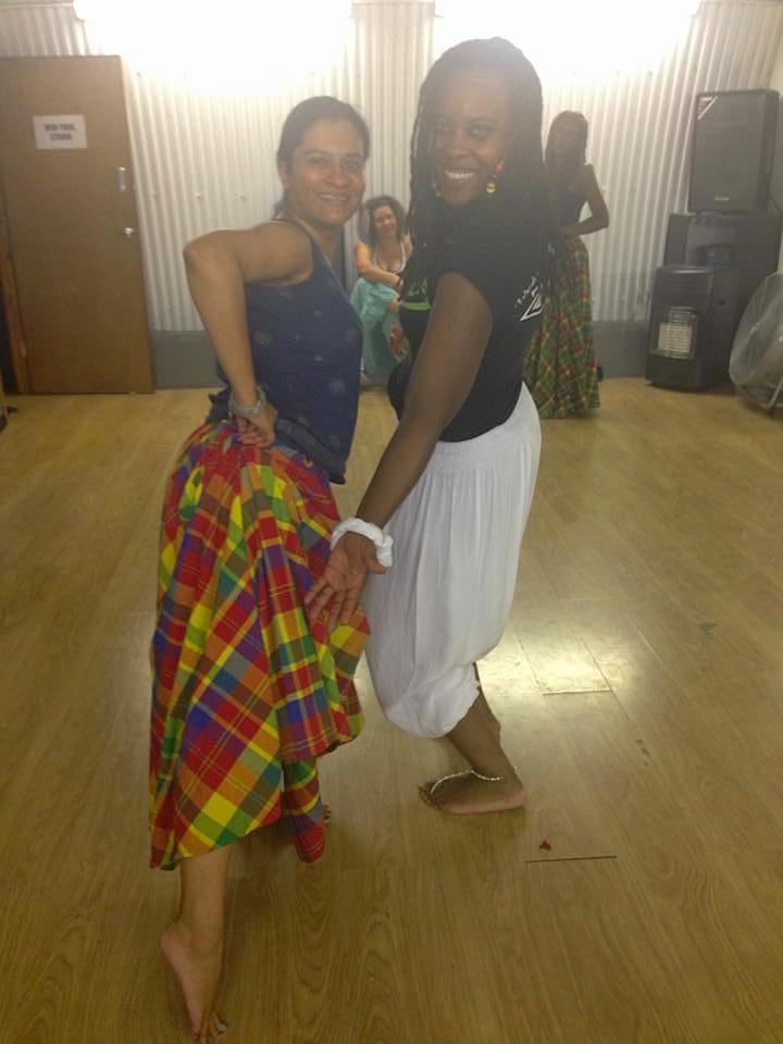 Ananya trying out the tri-page pas-de-base with Zil'oKA teacher Rita Lencrerot. Photo by Ananya Jahanara Kabir.